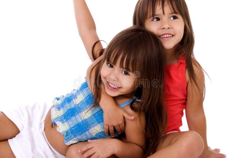 Schöne Doppelschwestern. stockfoto