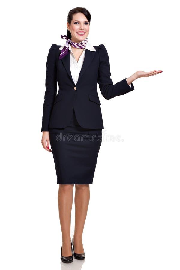 Fullbody einer jungen schönen Geschäftsfrau stockbild