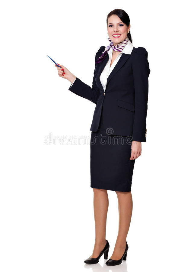 Fullbody einer jungen schönen Geschäftsfrau lizenzfreie stockfotos