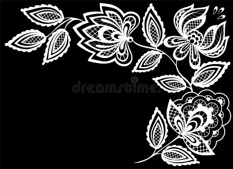 Schöne Einfarbige Schwarzweiss-Blumen Und Blätter Lokalisiert Vektor ...