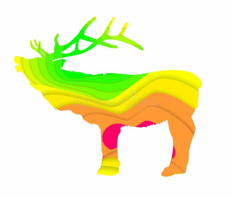 Schöne Elche mit luxuriösen Hörnern auf dem Hintergrund von farbigen glatten Linien lizenzfreie abbildung