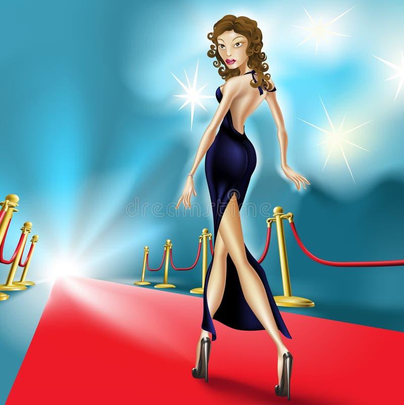 Schöne elegante Frau auf dem roten Teppich lizenzfreie abbildung