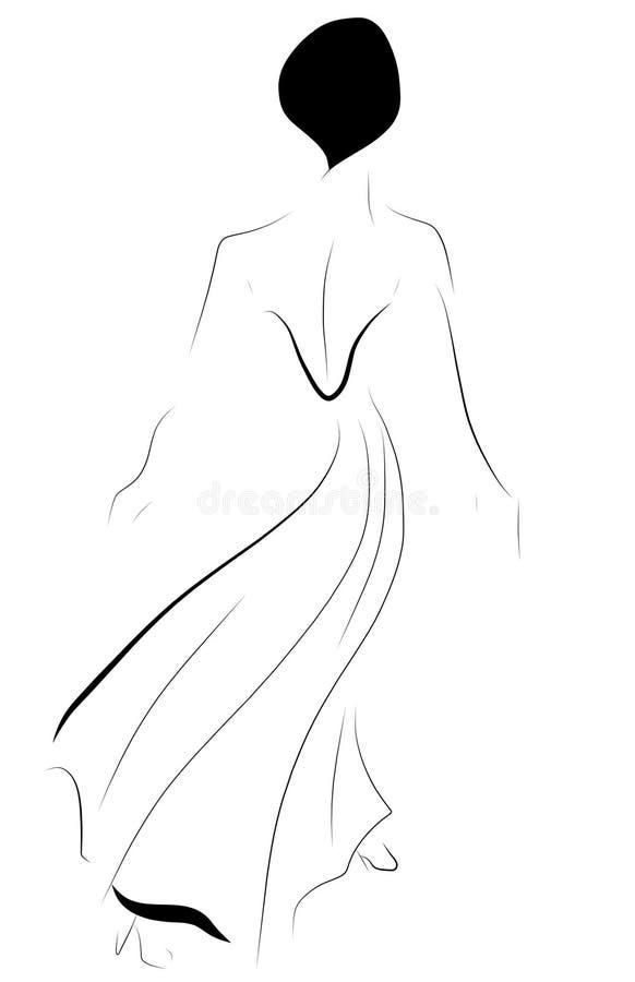 Schöne elegante Frau, die weg würdevoll geht lizenzfreie abbildung