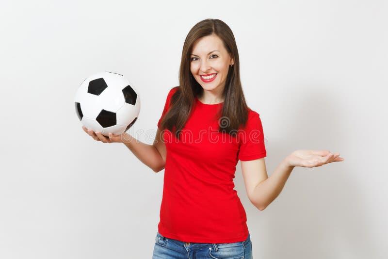 Schöne europäische junge Leute, Fußballfan oder Spieler auf weißem Hintergrund Sport, Spiel, Gesundheit, gesundes Lebensstilkonze lizenzfreies stockbild