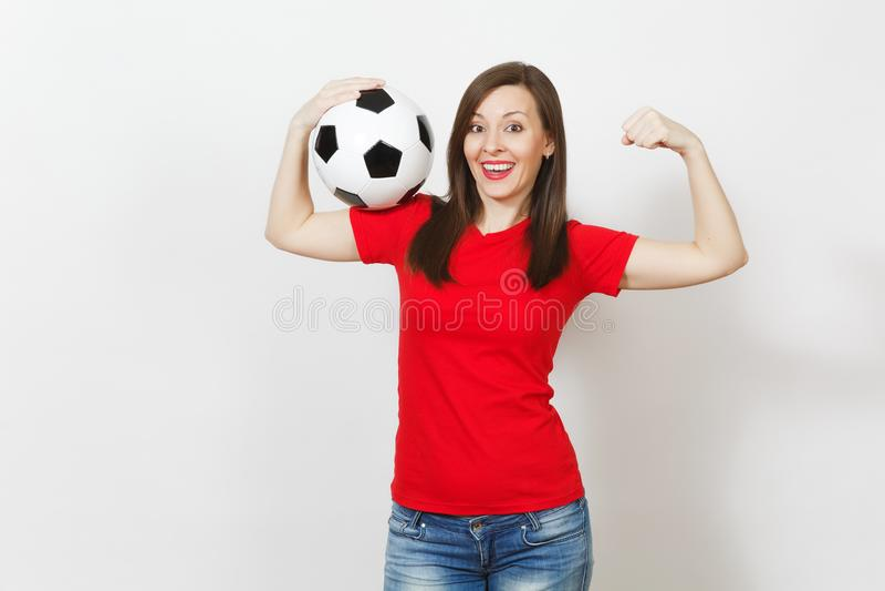 Schöne europäische junge Leute, Fußballfan oder Spieler auf weißem Hintergrund Sport, Spiel, Gesundheit, gesundes Lebensstilkonze lizenzfreie stockfotos