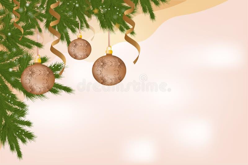 Schöne Fahnenkarte mit Weihnachtsbaumdekoration mit Spielwarenserpentinenbällen vektor abbildung