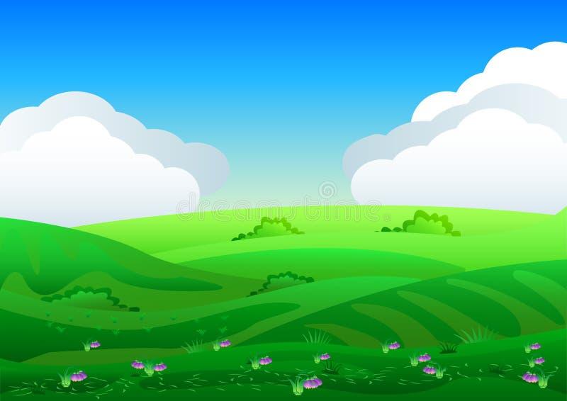 Schöne Felder gestalten mit einer Dämmerung, grüne Hügel, helle Farbblauer Himmel, Hintergrund in der flachen Karikaturart landsc vektor abbildung