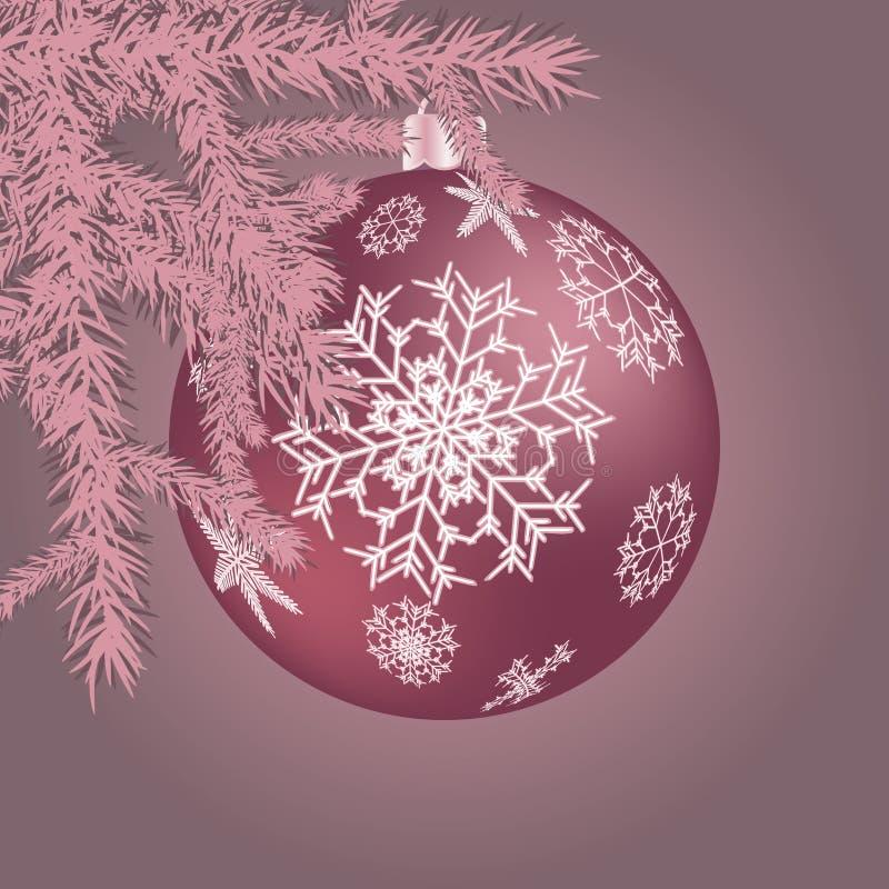 Schöne festliche Weihnachtspostkarte mit einem purpurroten Ball der Runde des neuen Jahres, eine Weihnachtsbaumdekoration mit Sch stock abbildung