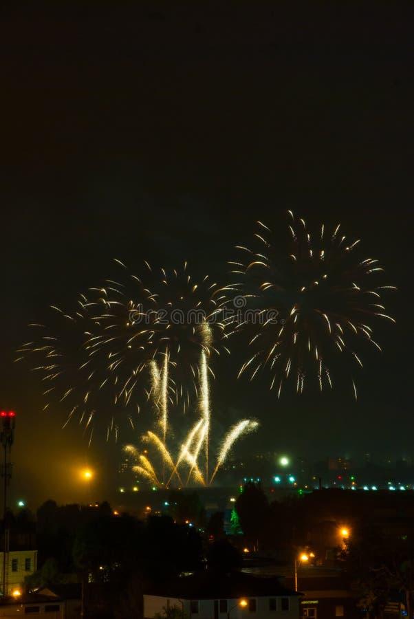Schöne Feuerwerke stockbild