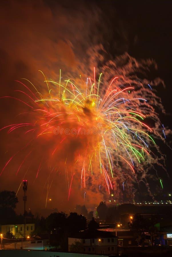 Schöne Feuerwerke im Smog lizenzfreie stockfotos
