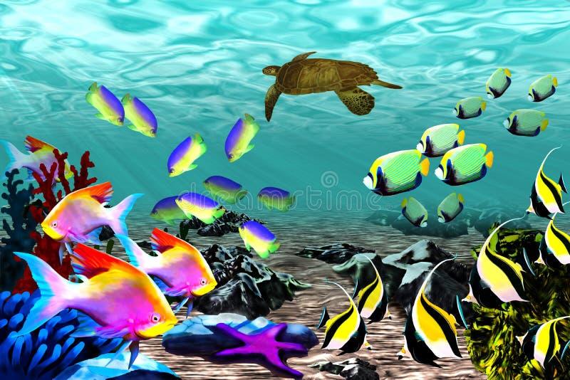 Schöne Fische und eine Schildkröte unter dem Wasser stockbilder