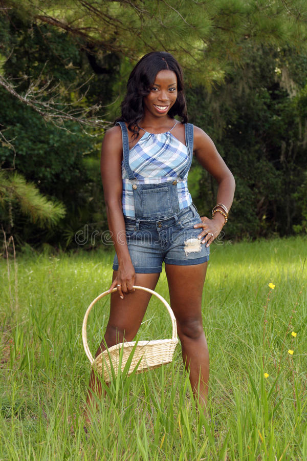 Schöne Frau auf dem grasartigen Gebiet mit einem Korb (2) stockfotografie