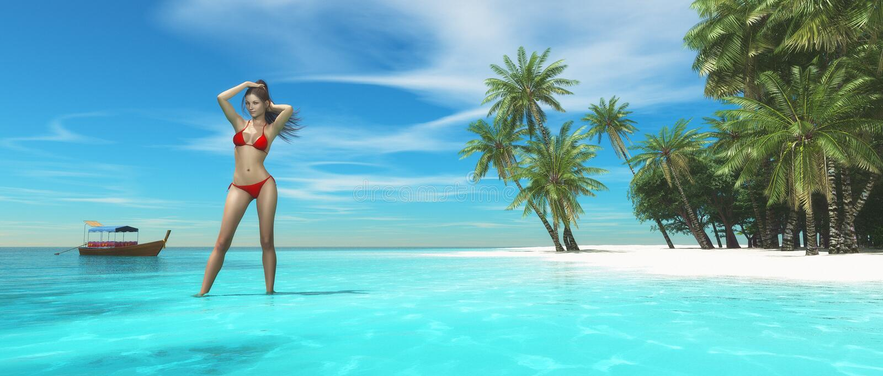Schöne Frau auf tropischem Strand stock abbildung