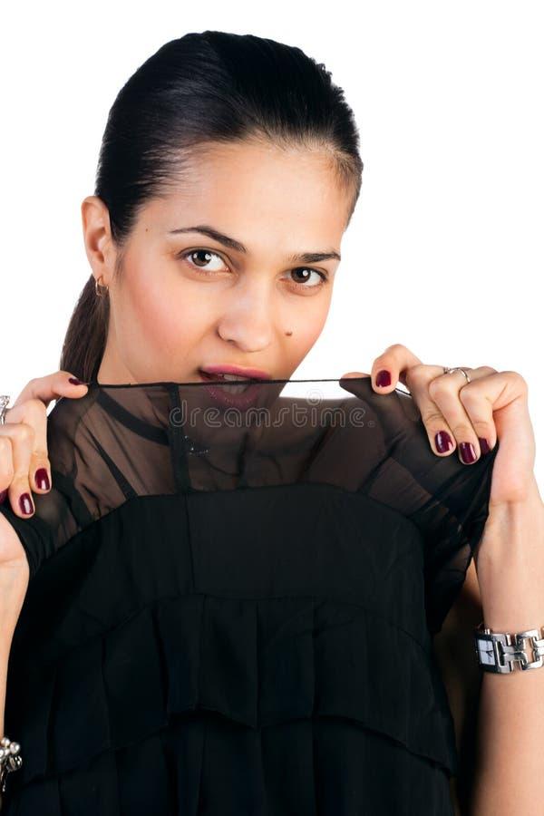 Schöne Frau auf Weiß lizenzfreie stockbilder
