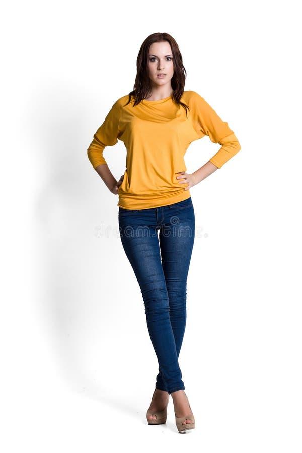Download Schöne Frau In Der Gelben Bluse Stockbild - Bild von frisur, eleganz: 26368103