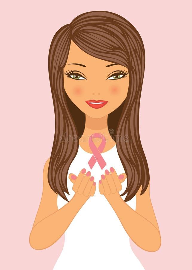 Schöne Frau des Brustkrebs-Bewusstseins lizenzfreie abbildung