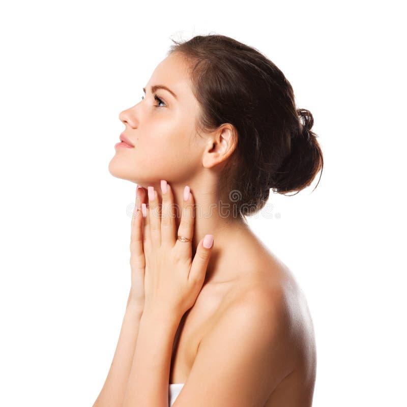 Download Schöne Frau, Die Durch Finger Ihren Stutzen Berührt Stockbild - Bild von frau, gesundheit: 26368083