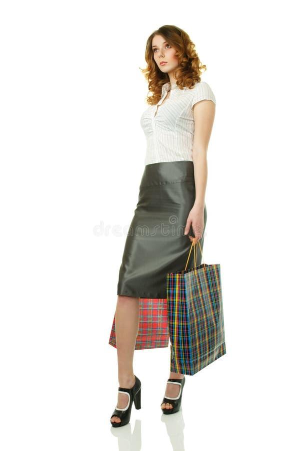 Schöne Frau am Einkaufen stockfotos