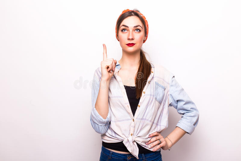 Schöne Frau haben die Idee lizenzfreie stockfotos