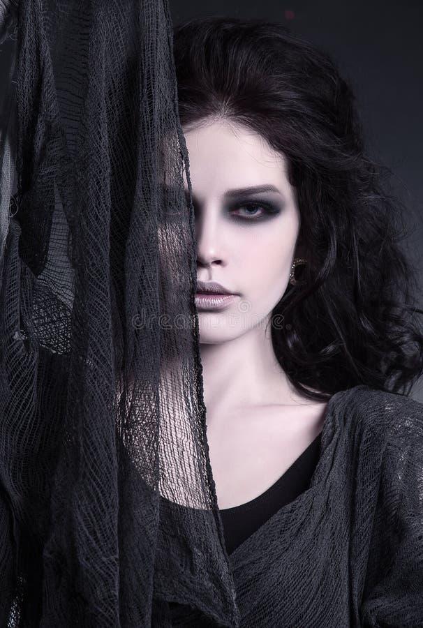 Schöne Frau Halloween-Make-up stockbilder
