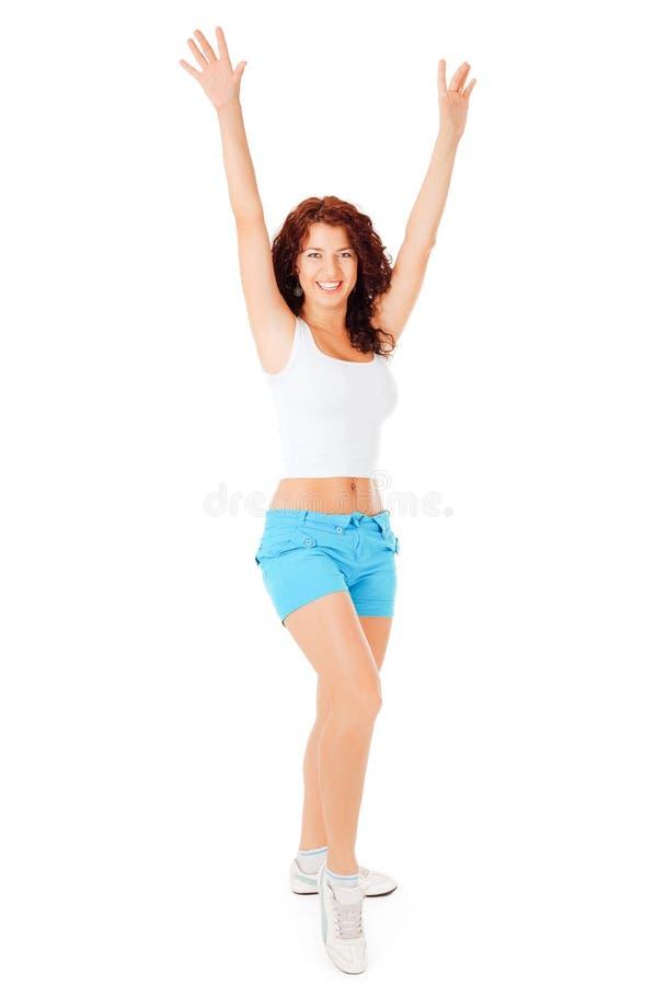 Schöne Frau hebt Hände oben an lizenzfreies stockbild