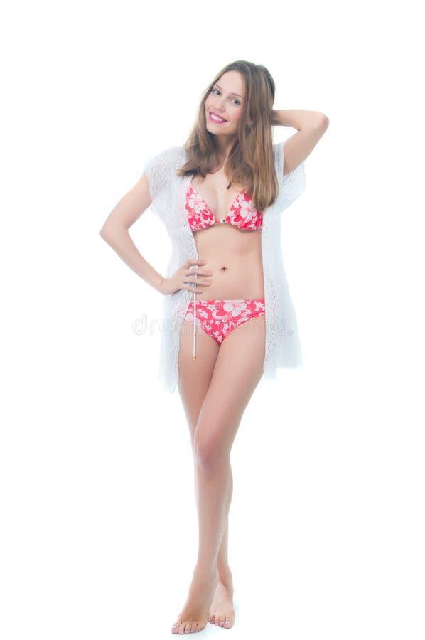 Schöne Frau im Bikini stockfoto