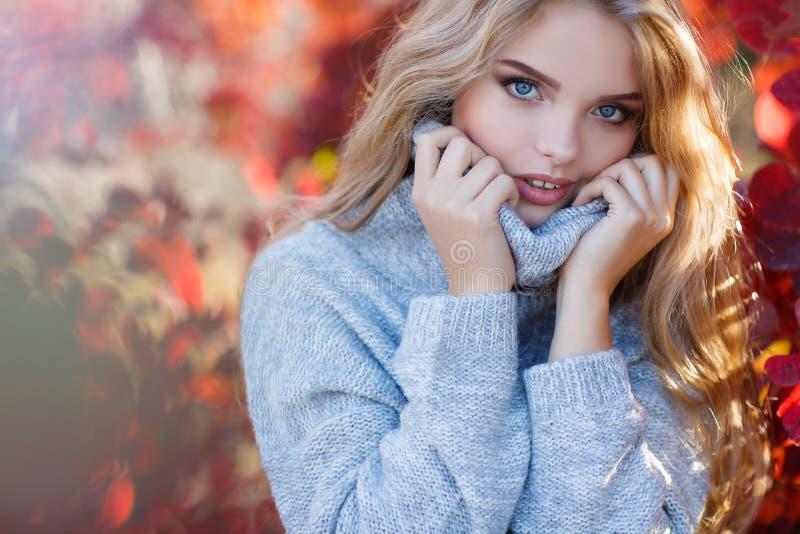 Schöne Frau im Herbstpark lizenzfreie stockfotografie