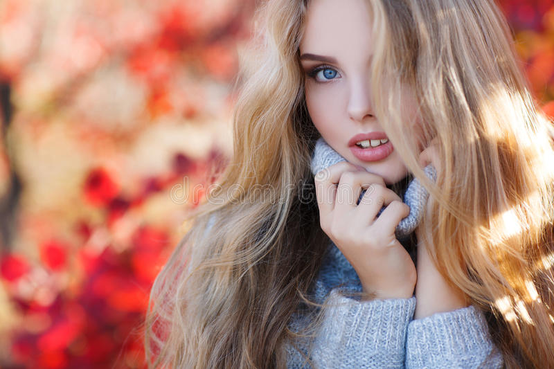 Schöne Frau im Herbstpark lizenzfreies stockbild