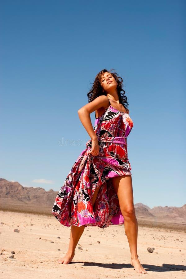 Schöne Frau im Kleid lizenzfreie stockfotos