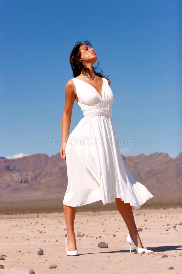 Schöne Frau im Kleid stockfotos