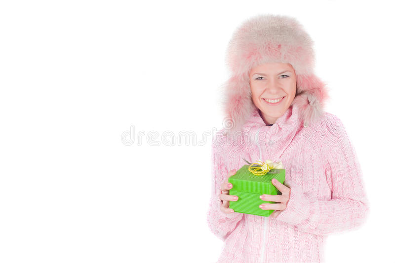 Schöne Frau im Rosa lizenzfreie stockbilder