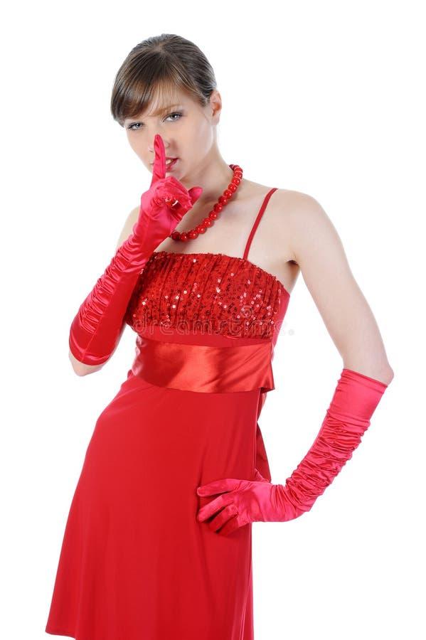 Schöne Frau im Rot. lizenzfreie stockfotos
