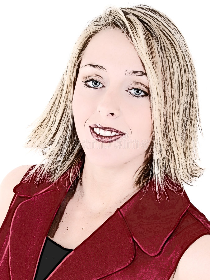 Schöne Frau Im Roten Sleeveless Anzug Lizenzfreie Stockfotos