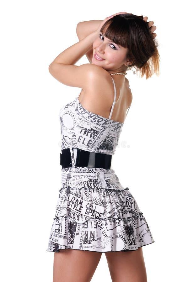 Schöne Frau im sexuellen Kleid. stockfoto
