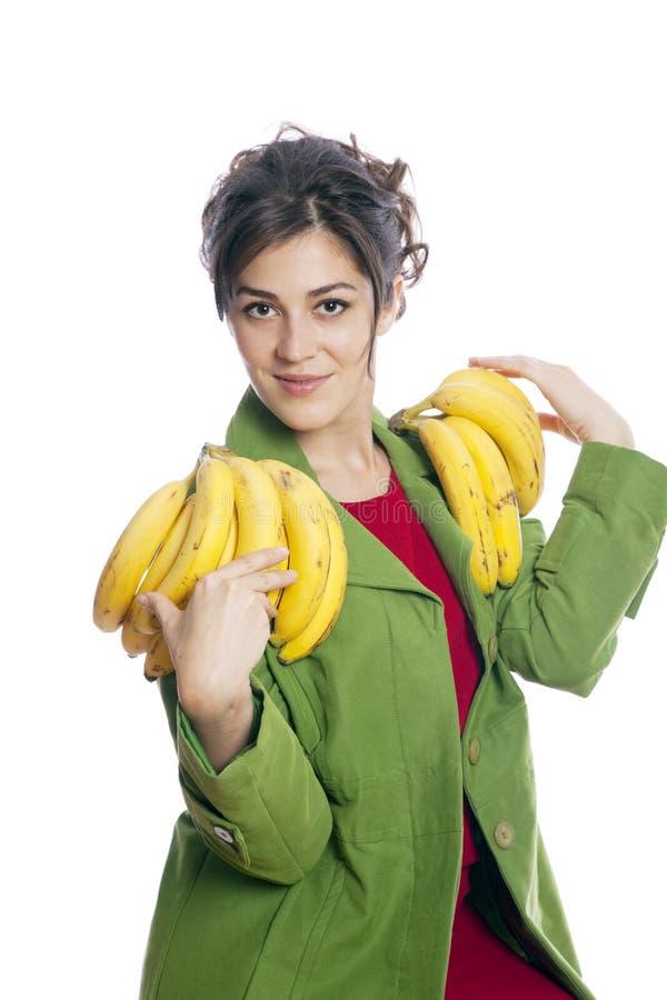 Download Schöne Frau mit Bananen stockbild. Bild von positiv, bündel - 12200613