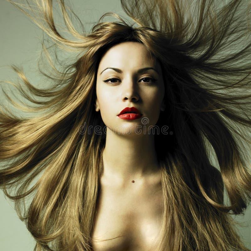 Schöne Frau mit dem ausgezeichneten Haar lizenzfreies stockbild
