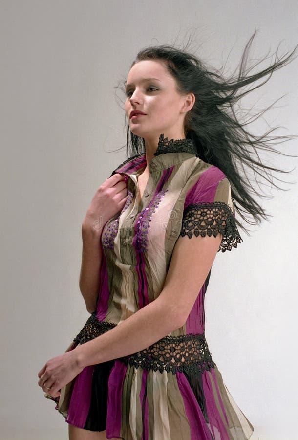 Schöne Frau mit dem Tonhöhenschwankungshaar lizenzfreie stockfotografie