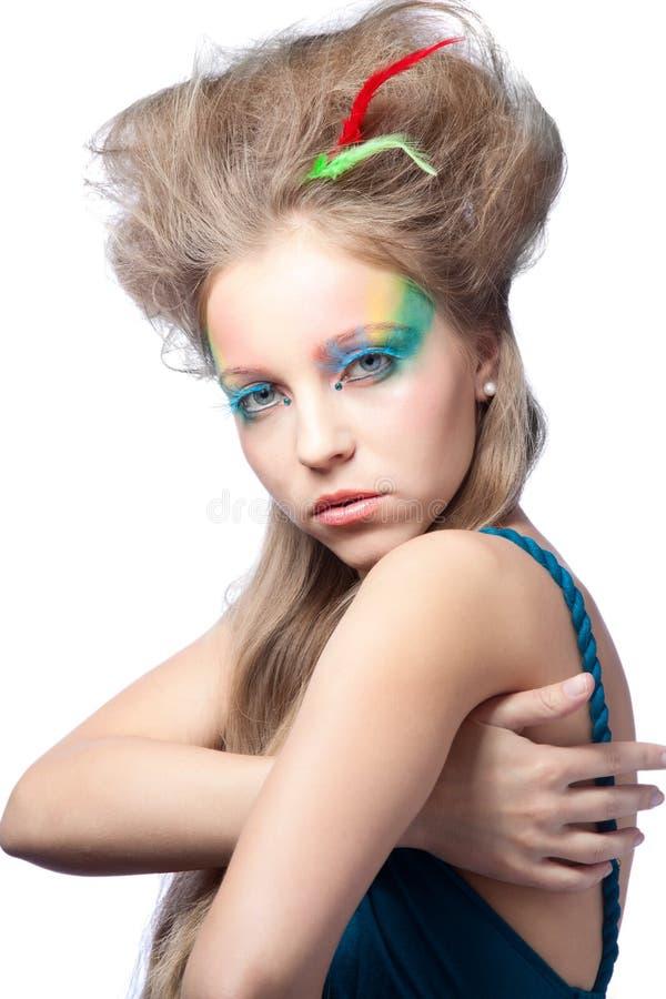 Schöne Frau mit Farbenverfassung stockbild