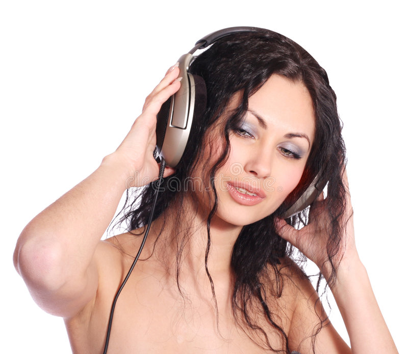 Download Schöne Frau mit Kopfhörern stockfoto. Bild von glücklich - 9080828