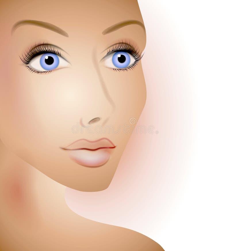 Schöne Frauen-natürliches Gesicht stock abbildung