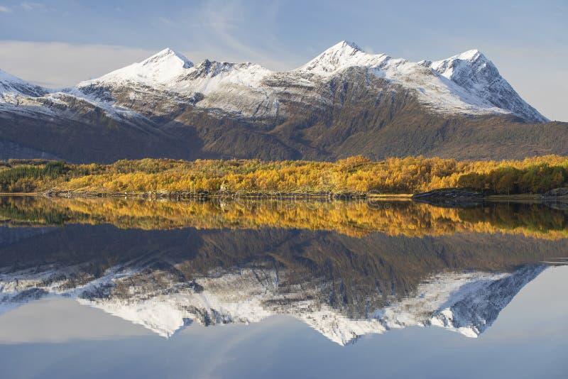 Schöne Gebirgsreflexion von Norwegen lizenzfreies stockbild