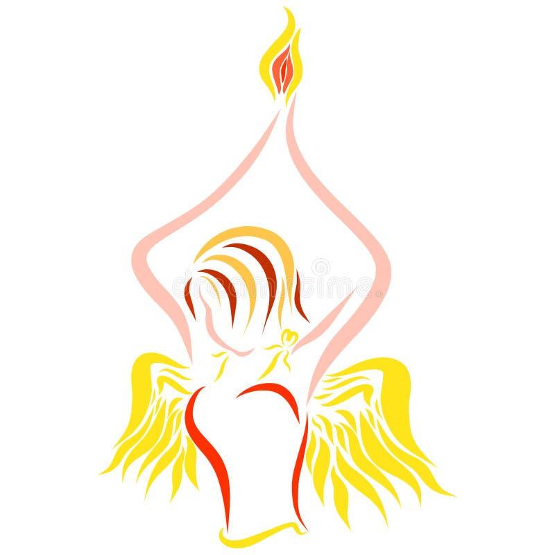 Schöne geflügelte Dame mit einer Flamme in ihren Händen lizenzfreie abbildung