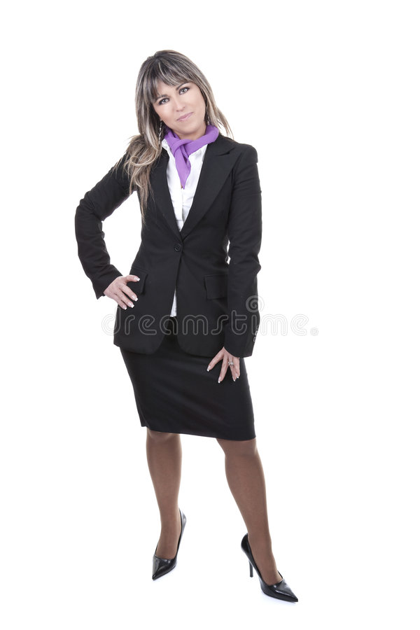 Schöne Geschäftsfrau getrennt auf Weiß stockfoto
