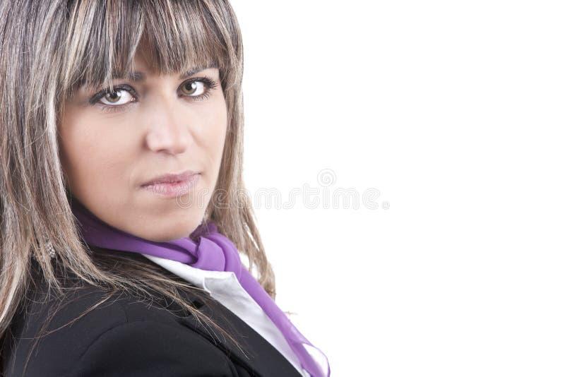 Schöne Geschäftsfrau getrennt auf Weiß lizenzfreie stockfotografie