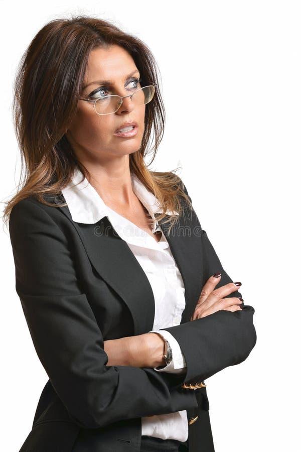 Schöne Geschäftsfrau mit Brillen lizenzfreies stockfoto