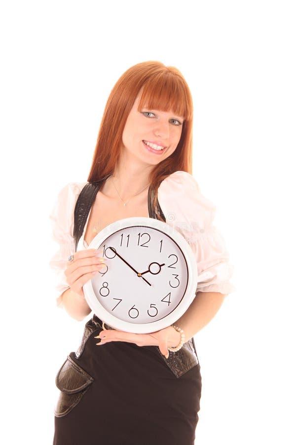 Schöne Geschäftsfrau mit der Borduhr getrennt lizenzfreies stockfoto