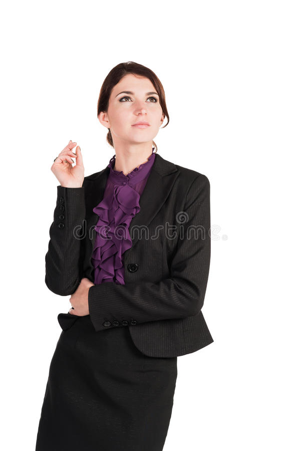 Schöne Geschäftsfrausorge über alles lokalisiert lizenzfreie stockbilder