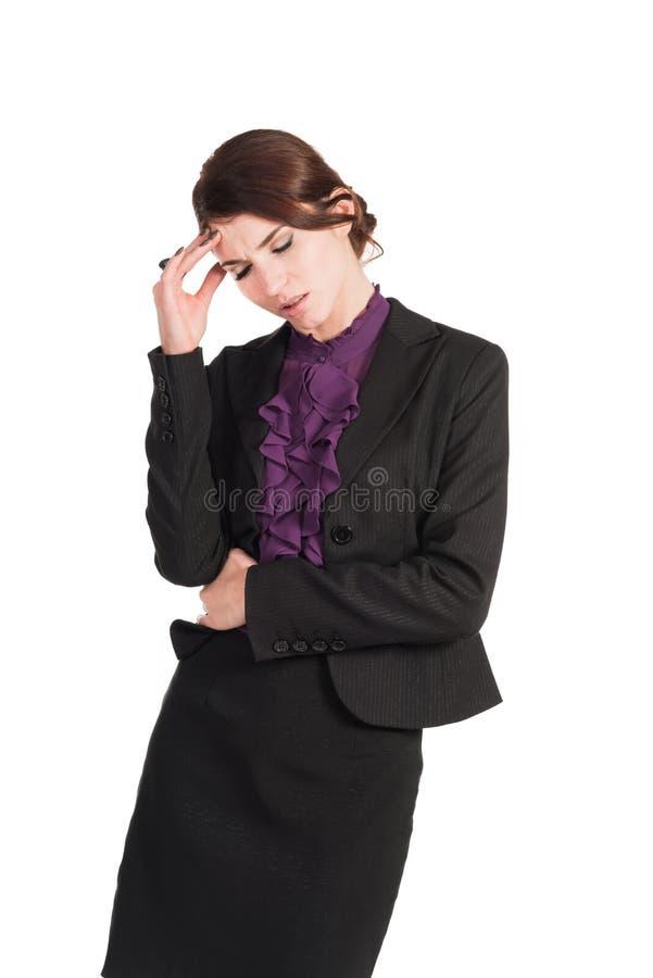 Schöne Geschäftsfrausorge über alles lokalisiert lizenzfreies stockfoto