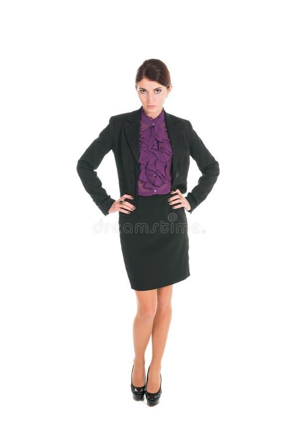 Schöne Geschäftsfraustellung lokalisiert lizenzfreie stockbilder