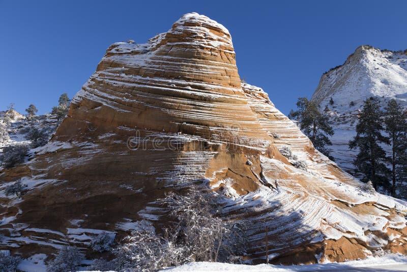 Schöne gewellte rote Felsformation unter einem hellen Abstauben des Schnees in Zion National Park lizenzfreies stockbild